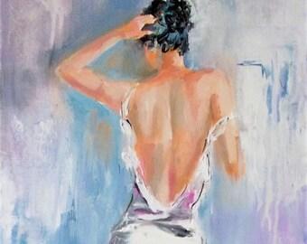 Original woman painting,woman back painting,woman art,figurative painting,white dress painting,palette knife,palette knife woman,white art