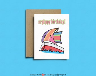 arghppy birthday! | cute boat birthday card, cute birthday card, Funny Birthday Card, Happy Birthday