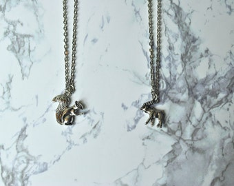 TWO Supernatural Friendship Necklaces Squirrel and Moose