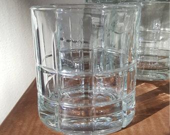 Vintage Hi Ball Bar Clear Anchor Hocking Glasses~8 Tartan Bar Glasses~Whiskey on the Rocks~Brandy Manhattan~Old Fashion~Gin~Vodka