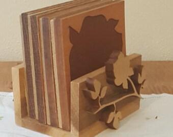 Vintage Coaster Set~Wood Coaster Set~Wooden Coaster Set~Set of 4 Wood Coasters with Holder~Drink Coasters