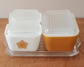 Pyrex Refrigerator Set Butterfly Gold 7 Pieces