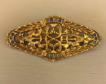 Vintage Gold Tone and Blue Stone Brooch