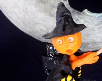 Witch Flying Around Moon