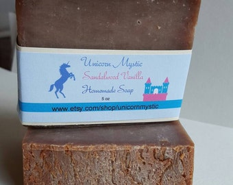 Sandalwood Vanilla  Cold Processed Homemade Bar Soap Top Scent!