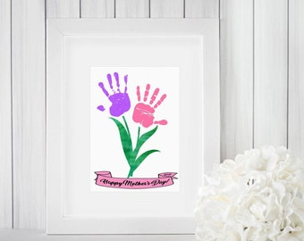 DIY Mother's Day Gift from Kids - INSTANT Download Mothers Day Printable - Handprint Art - Watercolor Art