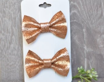 Rose Gold On Beige, Piggy Pack, Leather Hair bow, Set of 2, Leather Hair Bows