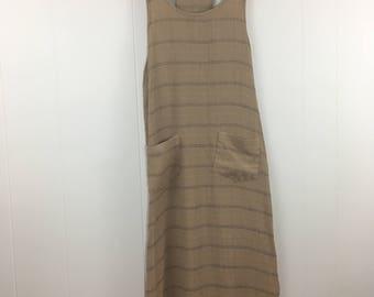 Vintage 90's Beige Maxi Dress Rayon Racerback Grunge M