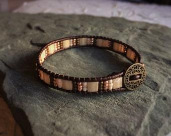 Bracelet, Leather Wrap, Japanese Miyuki Tila Beads, Toho Seed Beads, Metal Button, Bohemian Chic Jewelry