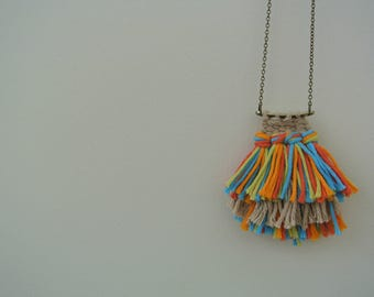 Sugar Crush // Handmade // Woven Necklace // Woven Jewelry // Handcrafted Jewelry // Brass Chain Necklace // Boho Necklace // Boho