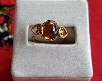 Going out of business sale Smokey topaz Swarovski heart ring