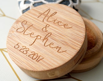 Wedding ring bearer box -  personalized bamboo ring holder - rustic wooden ring box - custom engraved ring box - wedding gift for couple