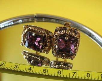 Vintage CUFFLINKS CZECH glass Antique Russian Soviet USSR Bohemian Collectible jewelry