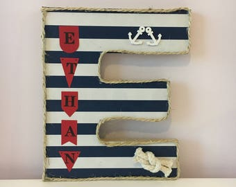 Large Wooden Standing Letter~Personalised Boys Name Gift~Nautical/Sailing/Navy Theme Birthday Party Decoration~Baby Nursery Sign~Wall Door