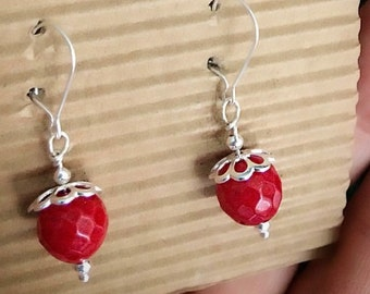 925 Silver earrings Wheatear with bamboo Coral red.