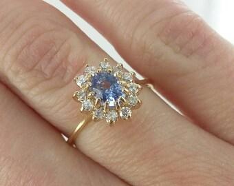 Vintage 14k Tanzanite and Diamond Ring Sz 5.25