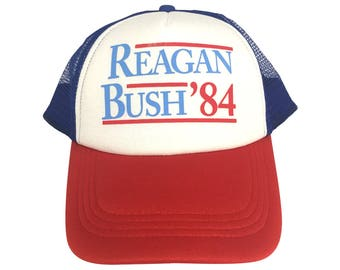Reagan Bush '84 Trucker Hat From 1984 Presidential Campaign Cap Republican President U.S. Costume Ronald George 84 Adult Red White And Blue