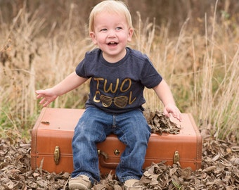 Two years old birthday shirt, Two cool, 2nd birthday tshirt, boys tshirt, boys birthday shirt, navy and gold