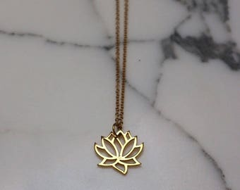 Gold Vermeil Lotus Flower Necklace | Minimal Necklace, Flower Pendant, Everyday Jewelry, Delicate Necklace, Flower Charm, Bride Gift