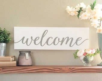Welcome Sign - Wood Sign - Wooden Sign - Farmhouse Decor - Farmhouse Style - Entryway Decor - Gray Decor - Cottage Style - Rustic Chic Home