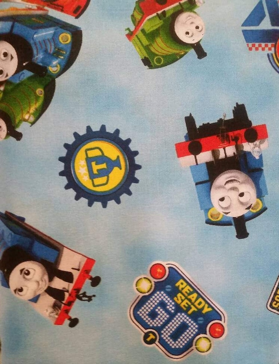 Thomas The Train Steam Team Blue Fabric From Quilting