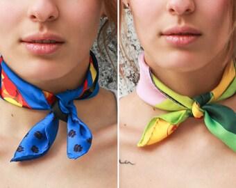 PROMOTION, two Silk Scarf neckerchief, two silk printed scarf, silk bandana, hand drawn, silk neckerchiefs, design printed scarf