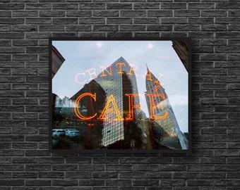 Central Cafe Photo - Urban Photography - Cafe Print - Reflection - City Print - Urban Wall Decor - Office Wall Decor - Big City Photo