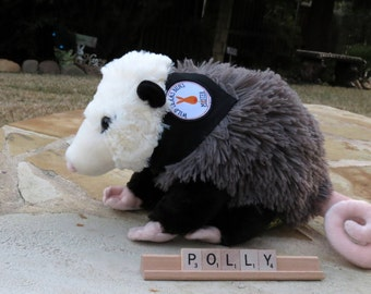 SOFT!  Plush Polly the Possum with Custom Wild Texas Buns Bandana - Stuffed Possum Toy - Opossum Toy - Mister's Garden