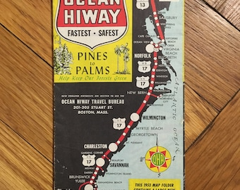 "1953 New York - Florida Ocean Hiway Map ""Pines to Palms"""