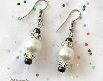 "Glittery White Pearl Earrings, 1"" Long, Darice White Glass, Rhinestone Rondelles, Hematite, Bride, Maid of Honour, Wedding"