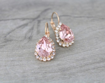 Rose gold earrings, Bridal earrings, Wedding jewelry, Blush crystal earrings, Blush Bridesmaid earrings, Blush wedding, Swarovski earrings