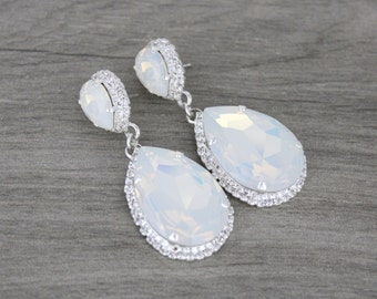 White opal earrings, Bridal earrings, Wedding earrings, Wedding jewelry, Swarovski earrings, Statement earrings, Large Crystal earrings