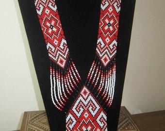 traditional ukrainian necklace/gerdan/Beaded Necklace/ Ukrainian gerdan/Ukrainian Jewelry/ ukrainian necklace/long necklace/red gerdan