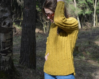 Free Shiping // Hand Knit Sweater // Knit Jumper // Olive Sweater // Wool Pullover // Ready to Ship