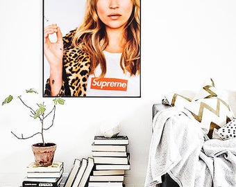 Kate Moss Supreme PRINT, Fashion Poster, Portrait Poster, Kate Moss, Dorm Room Poster, Fashion Wall Art