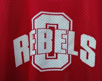 Vintage Rebel Basketball Jersey, #8 Basketball Jersey, 1990's Running Rebels Practice Jersey, Reversible Red Basketball Practice Jersey