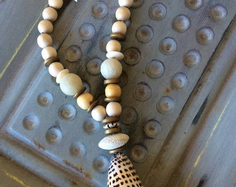 Black and White Sea shell with suede necklace