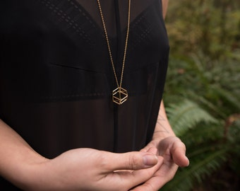 The Gold Geometric Cage Necklace