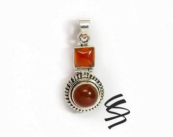 Carnelian Vintage Antique 925 Sterling Silver Fashion Jewelry Birthstone Statement Piece Red Gemstone Pendant Orange Silver Gem Boho Gift