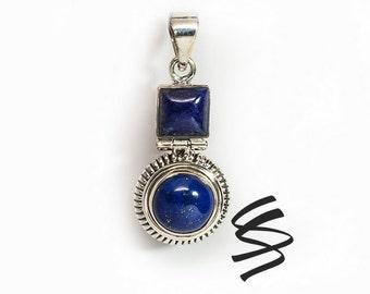 Lapis Lazuli Antique Jewelry Vintage Necklace Lapis Pendant Natural Stone Necklace Birthstone Jewelry Natural Stone Pendant Blue Gemstone