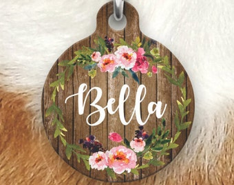 Floral Wood Pet Tag - Girly Pet Tag - Dog Tags For Dogs - Double sided Pet tag - Pet ID Tag - Dog Tag - Personalized Dog Tag-