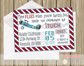 Airplane First Birthday Invitation, Navy, Red, Blue, Vintage,  5x7 digital printable