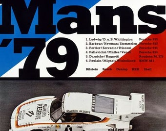 Vintage 1979 Porsche Le Mans Motor Racing Poster  A3 Print
