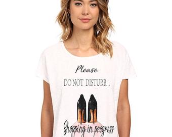 Shopping shoes  vintage slub cotton organic fashion glamour Women  lady t- shirt