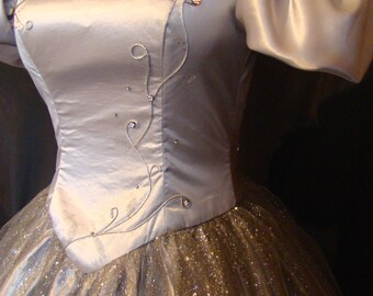 """Moon"" grey Duchess satin and silver sequined tulle wedding dress"