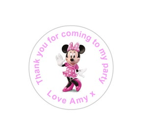 """Minnie Mouse themed """"thank you"""" stickers. Perfect for sweet cones and party bags. Sets of 24, 36 & 48."""