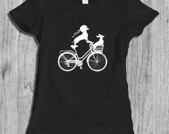 Doxie Shirt for Women - Vintage Dachshund Art - Bicycle Shirt for Her - Cyclist Shirt - Dachshund Lover Gift - Dog Lover Gifts - Animal Tee