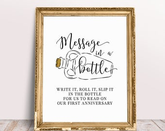 Message In A Bottle, Please Sign, Message In A Bottle Guest Book, Wedding Signage, Message In A Bottle Sign, Guestbook Sign, Wedding Prints