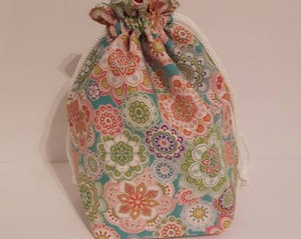 Flower Project Bag, Knitting Bag, Drawstring Bag, Crochet bag, Makeup Bag, Cotton Bag, Toiletry Bag, Art Supply bag, Craft bag,