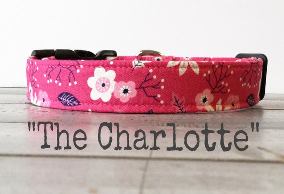 Pretty DOG COLLAR, Made to Order, Dog Collar for Girls, Floral Dog Collar - The Charlotte